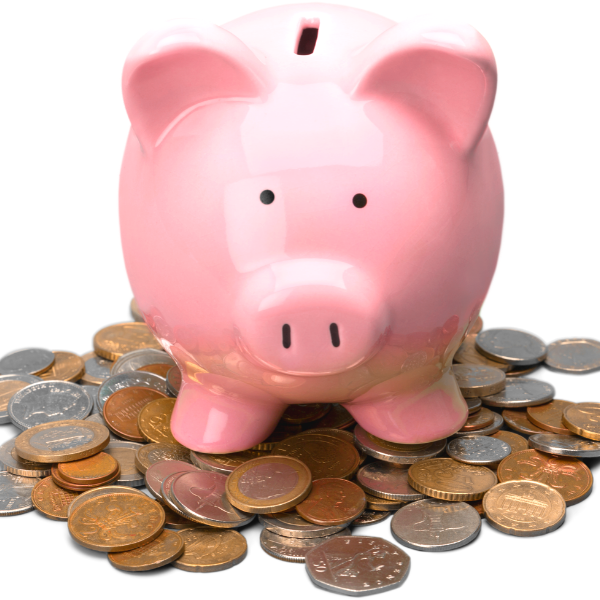 9. Save your coins in a piggy bank